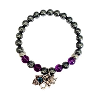 Amethyst and Hematite 'Protection From Negativity' Hamsa Hand/ Ohm/ Elephant Bracelet