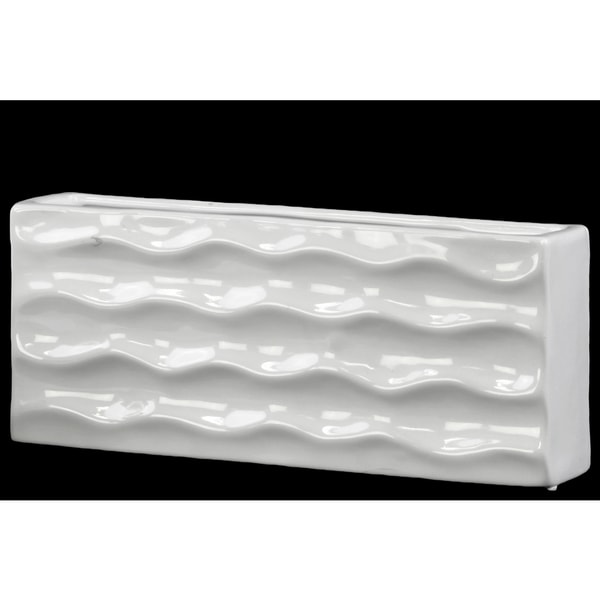 Ceramic Wide Rectangular Vase Gloss White