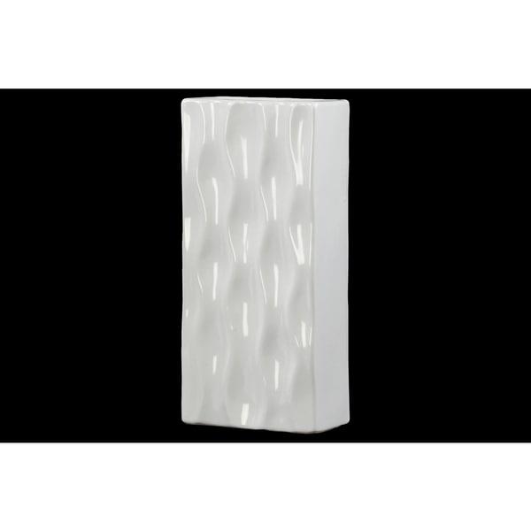 Ceramic Tall Rectangular Vase LG Gloss White