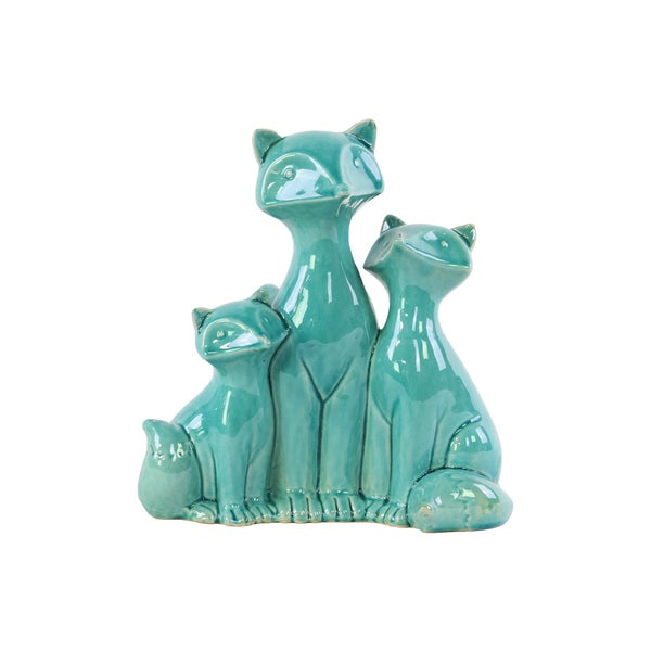 Gloss Turquoise Ceramic Sitting Fox Family Figurine