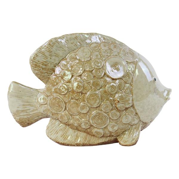 Ceramic Wide Fish Figurine with Circular Swirl Design Gloss Cream