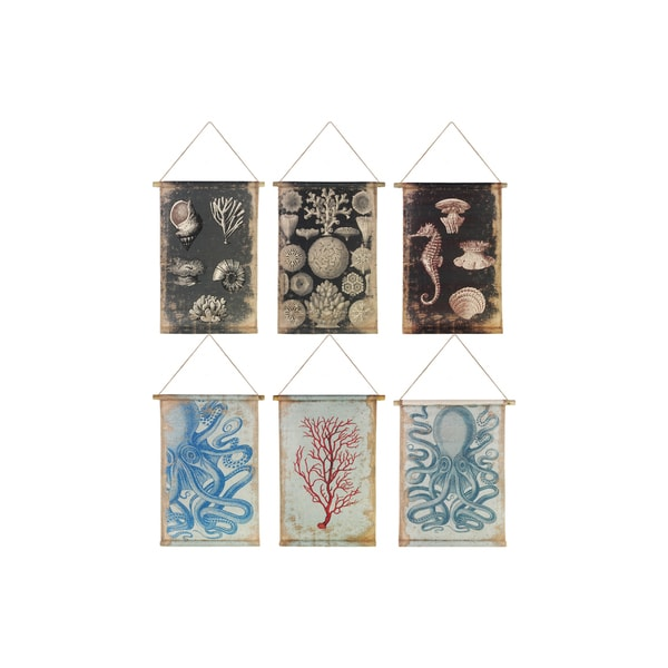 Cream Canvas Paintings of Coastal Art with 2 Wood Rods and Rope Hanger (Assortment of Six)