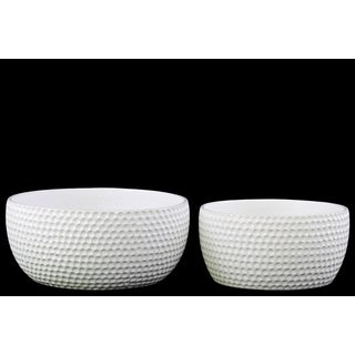 Glossy White Ceramic Round Dimpled Pots (Set of 2)