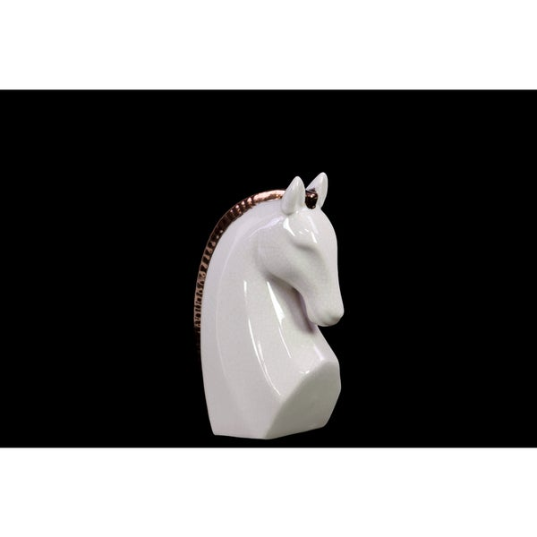 Gloss White Stoneware Strutting Horse Bust with Bronze Mane 16867079