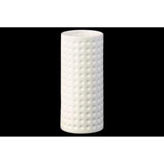 Ceramic Cylindrical Vase LG Dimpled Finish Gloss White