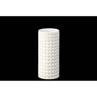 Ceramic Cylindrical Vase SM Dimpled Finish Gloss White