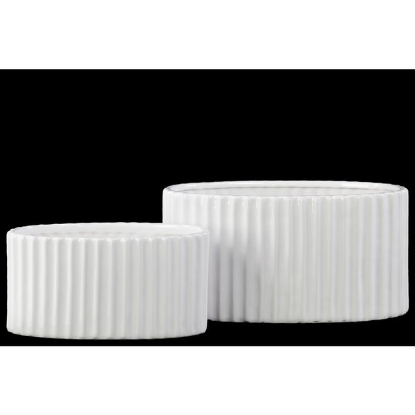 Porcelain Oval Flower Vase Set of Two Corrugated Gloss White