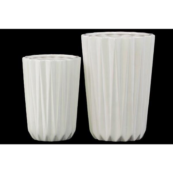 Porcelain Tapered Flower Vase Set of Two Corrugated Gloss White