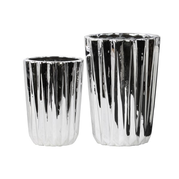 Porcelain Tapered Flower Vase Set of Two Corrugated Polished Chrome Silver