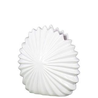 Ceramic Shell Flower Vase Gloss White