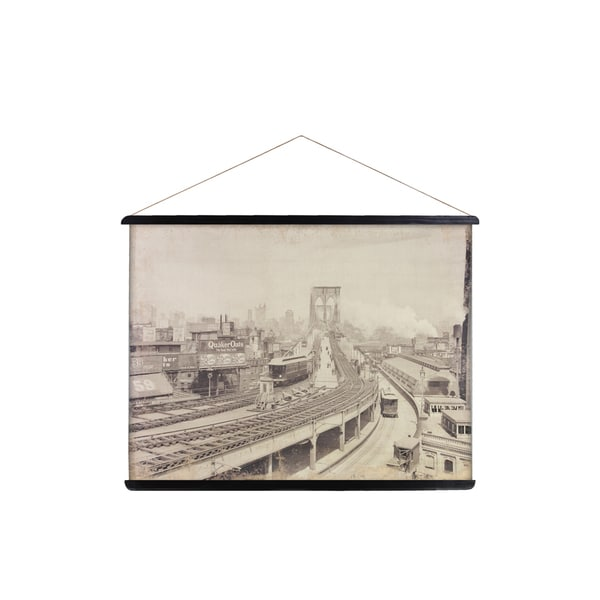 Canvas Painting of Curve at Brooklyn Terminal with 2 Wood Braces and Rope Hanger Cream