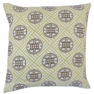 Gambhiri Geometric 18-inch Feather and Down Filled Throw Pillow