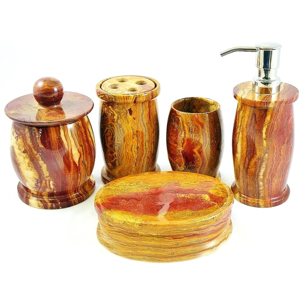 Decor Atlantic Collection Teakwood Marble 5 Piece Bathroom Accessory
