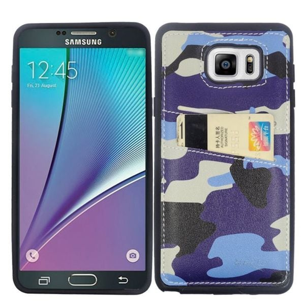 Insten Blue/ Black Camouflage Leather TPU Dual Layer Hybrid Case Cover with Wallet Flap Pouch For Samsung Galaxy Note 5