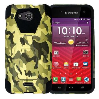 Insten Green/ Black Camouflage Hard PC/ Silicone Dual Layer Hybrid Case Cover with Stand For Kyocera Hydro Wave