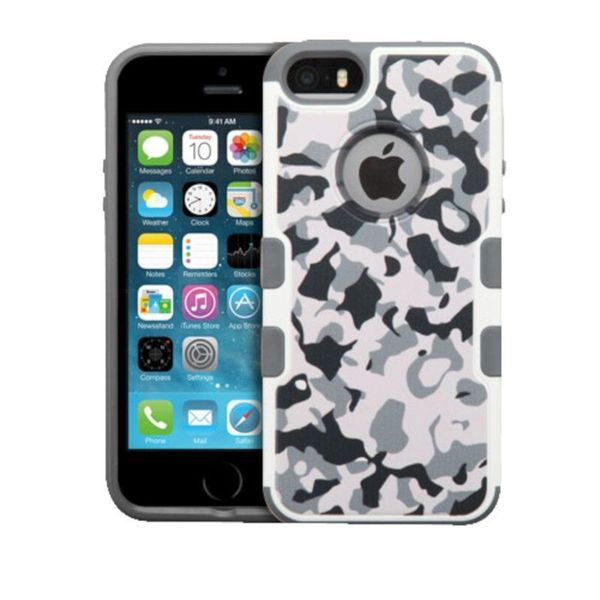Insten Black/ White Camouflage Hard Snap-on Rubberized Matte Case Cover For Apple iPhone 5/ 5S