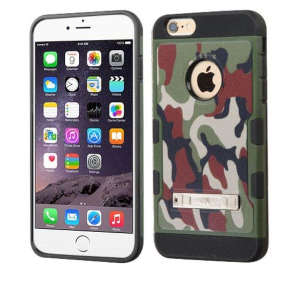 Insten Green/ Black Camouflage Hard Snap-on Case Cover with Stand For Apple iPhone 6/ 6s