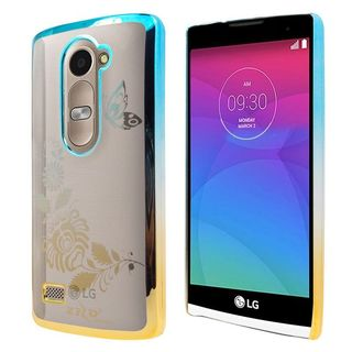 Insten Clear/ Gold Butterfly Hard Snap-on Rubberized Matte Case Cover For LG Destiny/ Leon/ Power/ Tribute 2