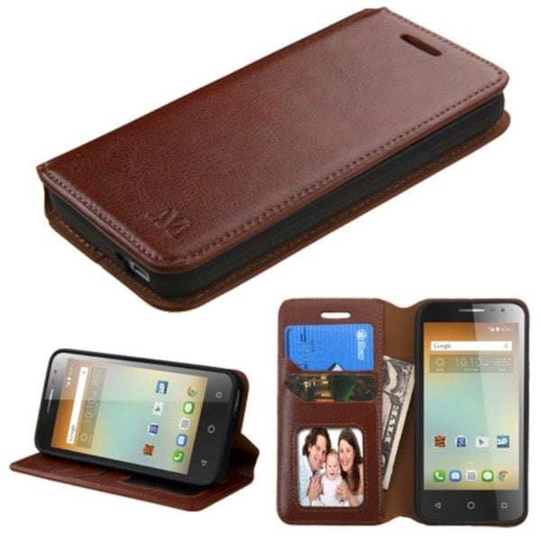 Insten Leather Case Cover with Stand/ Wallet Flap Pouch/ Photo Display For Alcatel One Touch Elevate