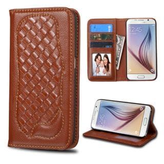 Insten Genuine leather Fabric Case Cover with Card Slot/ Photo Display For Samsung Galaxy S6