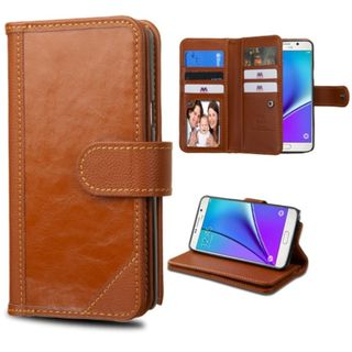 Insten Genuine leather Fabric Case Cover with Stand/ Card Slot/ Photo Display For Samsung Galaxy Note 5