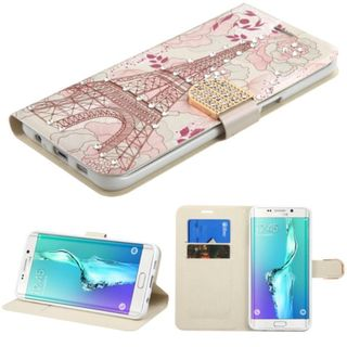 Insten Pink/ White Eiffel Tower Leather Case Cover with Stand/ Wallet Flap Pouch/ Diamond For Samsung Galaxy S6 Edge Plus