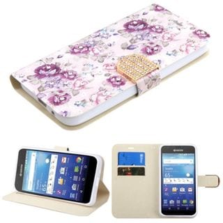 Insten Purple/ White Flowers Leather Case Cover with Stand/ Wallet Flap Pouch/ Diamond For Kyocera Hydro Wave