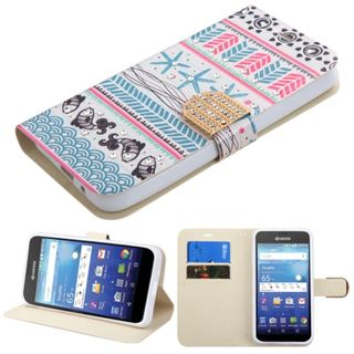Insten Blue/ Hot Pink Jumping Fishes Leather Case Cover with Stand/ Wallet Flap Pouch/ Diamond For Kyocera Hydro Wave