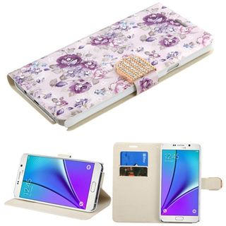 Insten Purple/ White Flowers Leather Case Cover with Stand/ Wallet Flap Pouch/ Diamond For Samsung Galaxy Note 5