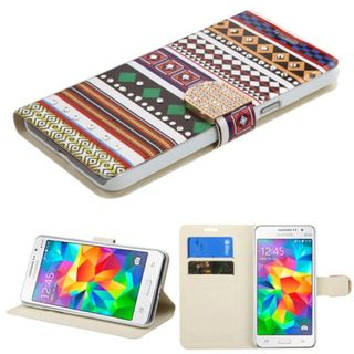 Insten Colorful Ethnic Customs Leather Case Cover with Stand/ Wallet Flap Pouch/ Diamond For Samsung Galaxy Grand Prime