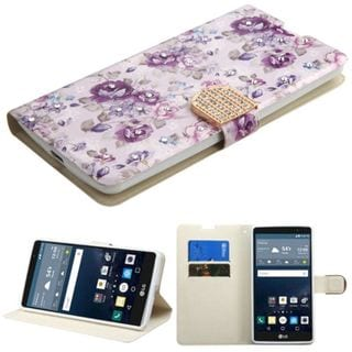 Insten Purple/ White Flowers Leather Case Cover with Stand/ Wallet Flap Pouch/ Diamond For LG G Stylo