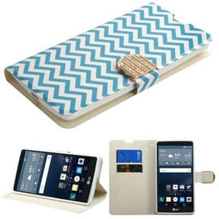 Insten Blue/ White Wave Leather Case Cover with Stand/ Wallet Flap Pouch/ Diamond For LG G Stylo