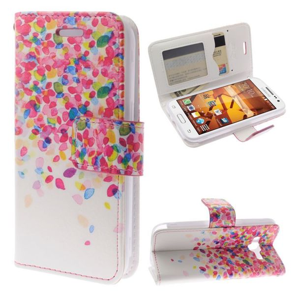 Insten Hot Pink/ White Leaves Leather Case Cover Lanyard with Stand/ Diamond For Samsung Galaxy Core Prime