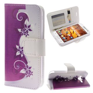 Insten Purple/ Silver Vines Leather Case Cover Lanyard with Stand/ Diamond For Samsung Galaxy Core Prime