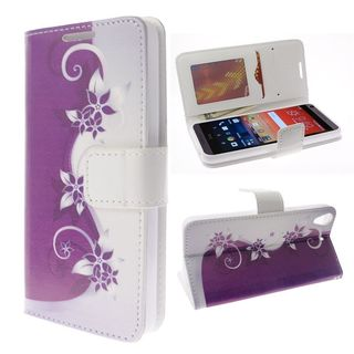 Insten Purple/ Silver Vines Leather Case Cover Lanyard with Stand/ Diamond For HTC Desire 626/ 626s