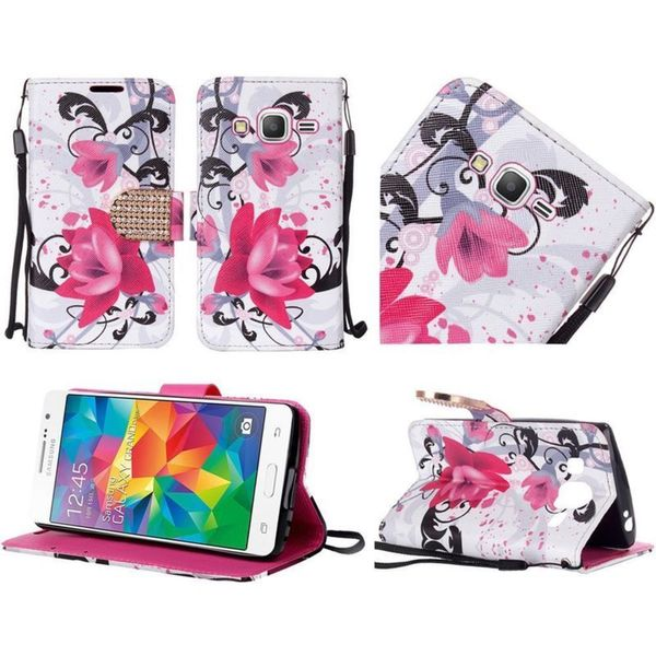 Insten Purple/ White Lily Leather Case Cover Lanyard with Stand/ Diamond For Samsung Galaxy Grand Prime