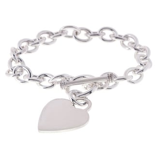 Sterling Essentials Sterling Silver 8-inch Heart Toggle Bracelet