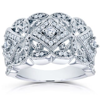 Annello 10k White Gold 1/2ct TDW Diamond Antique Filigree Wide Anniversary Ring (H-I, I2)