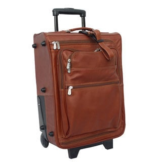 Piel Leather 19-inch Carry-on Multi-pocket Rolling Upright Suitcase