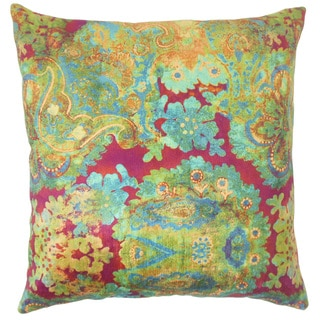 Xexilia Floral 18-inch Feather and Down Filled Throw Pillow