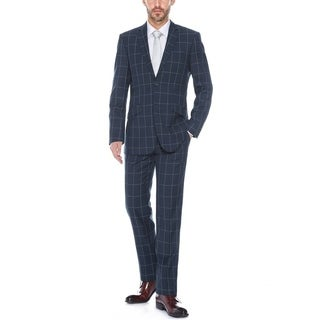 Verno Mestre Men's Navy Windowpane Slim Fit Italian Styled Suit