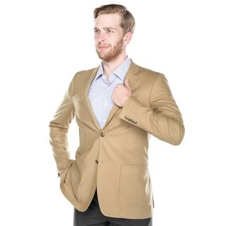 Verno Angelo Wool Blend Men's Tan Slim Fit Italian Styled Blazer