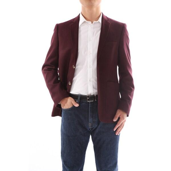 Verno Armati Men's Wool Blend Burgundy Slim Fit Italian Styled Blazer
