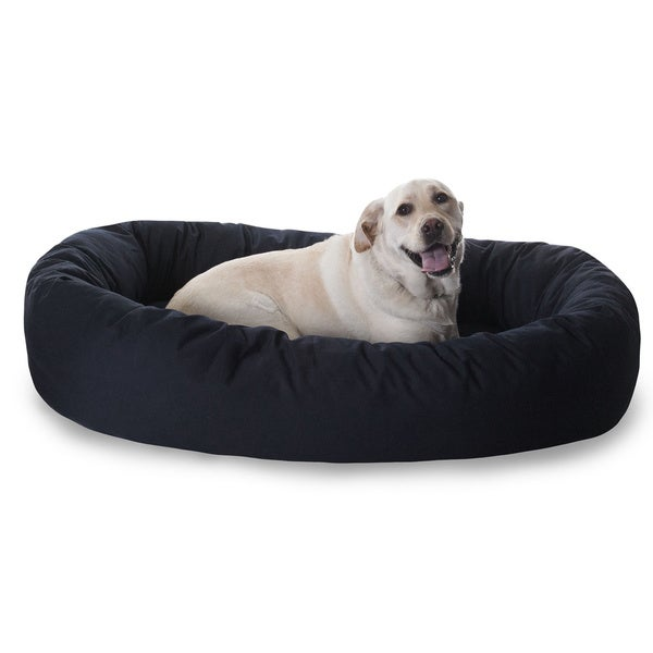 "Luxurious Bagel Style Donut Plush Pet Dog Bed 32"" in Khaki (As Is Item)"