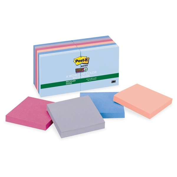 Post-it Recycled Super Sticky Bali Notes - 12/PK