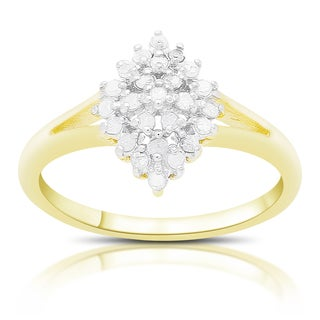 Finesque Gold over Silver or Sterling Silver 1/4 Ct TDW Diamond Cluster Ring