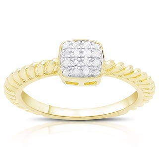 Finesque Gold Over Sterling Silver 1/0 Ct TDW Diamond Square Ring