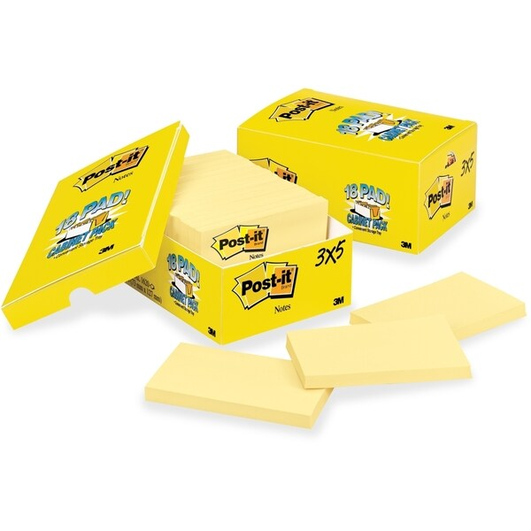 Post-it Original Canary Yellow Plain Note Pad - 18/PK