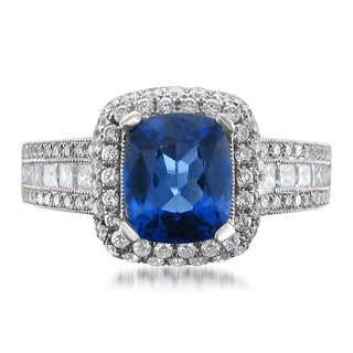 Montebello 18k Gold Tanzanite and Diamond 3 1/10ct TGW Cushion-cut Certified One-of-a-Kind Ring (H-I, VS2-SI1)