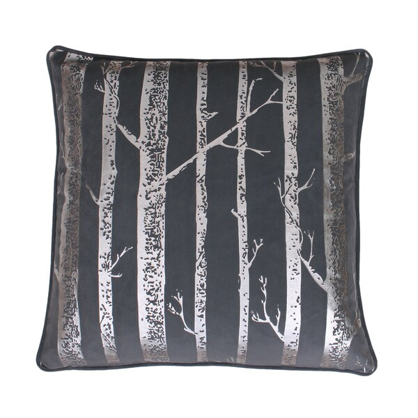 Naomi Metallic Printed Trees Feather Filled 20-inch Throw Pillow